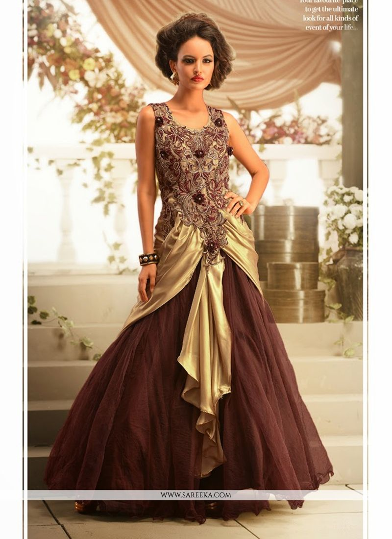 Beige And Brown Satin Net Designer Gown