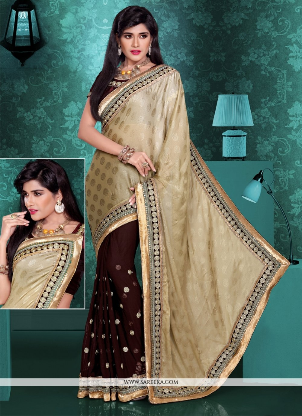Beige And Brown Viscose And Georgette Saree