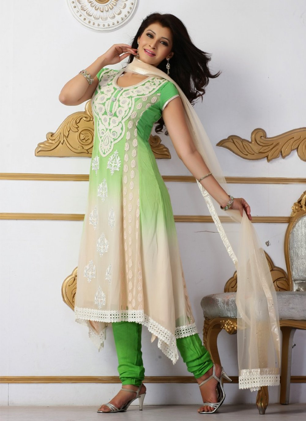 Beige And Green Resham Work Churidar Suit