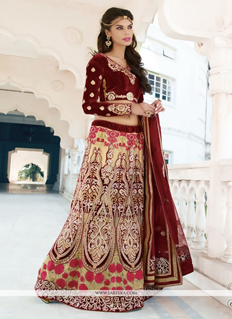 Beige And Maroon Net Wedding Lehenga Choli