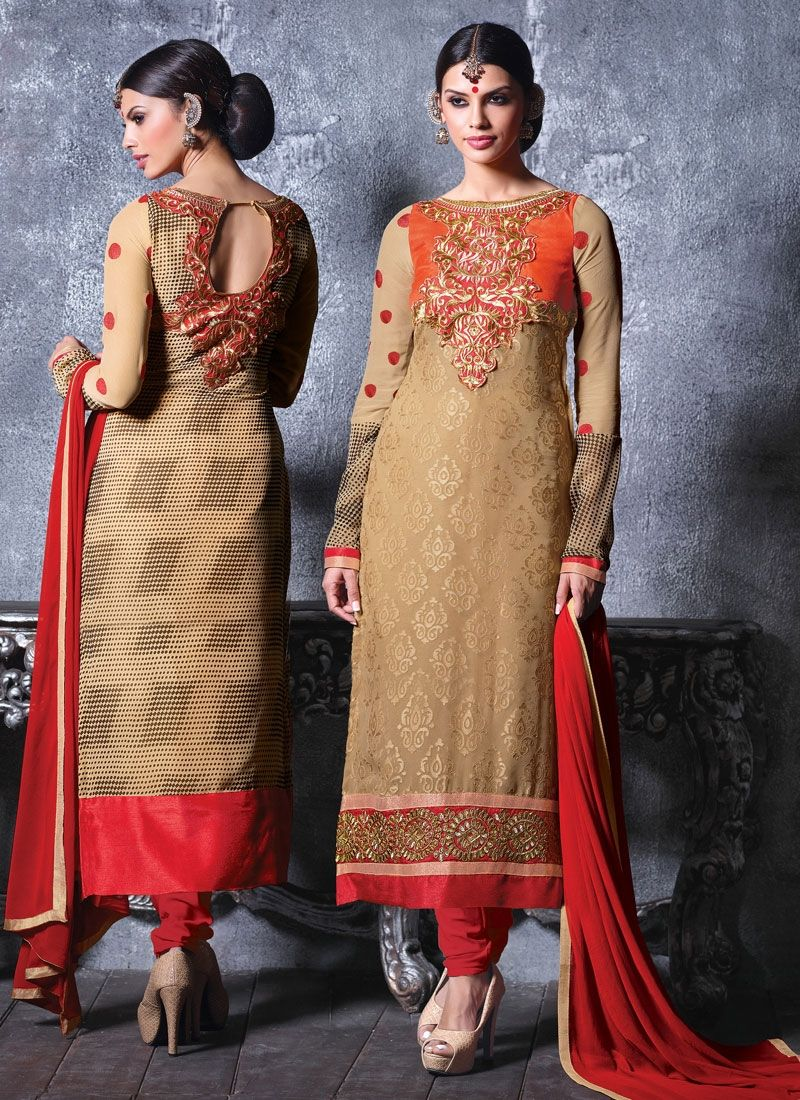 Beige And Orange Embroidery Churidar Suit
