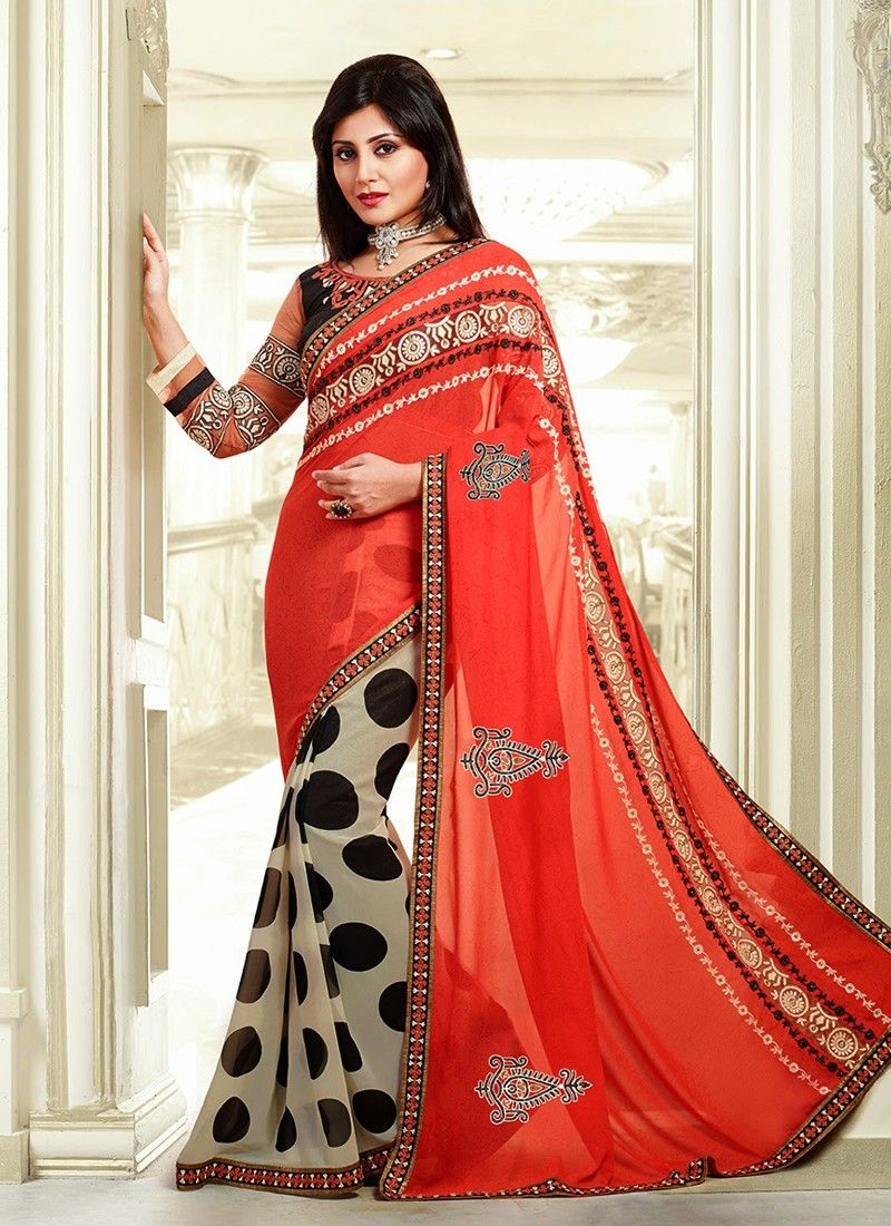 Beige And Orange Patch Border Work Designer Saree
