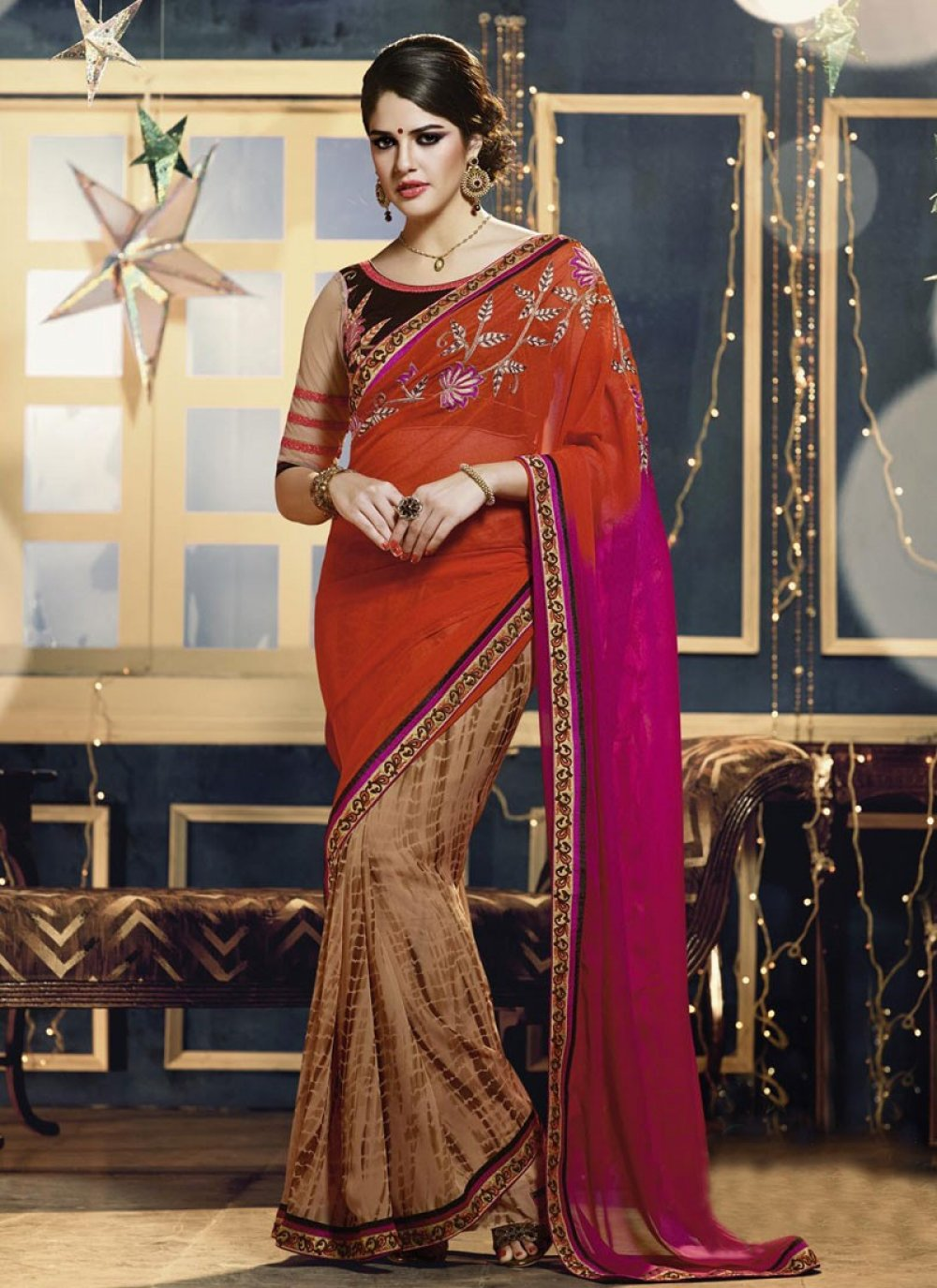 Beige And Orange Printed Saree