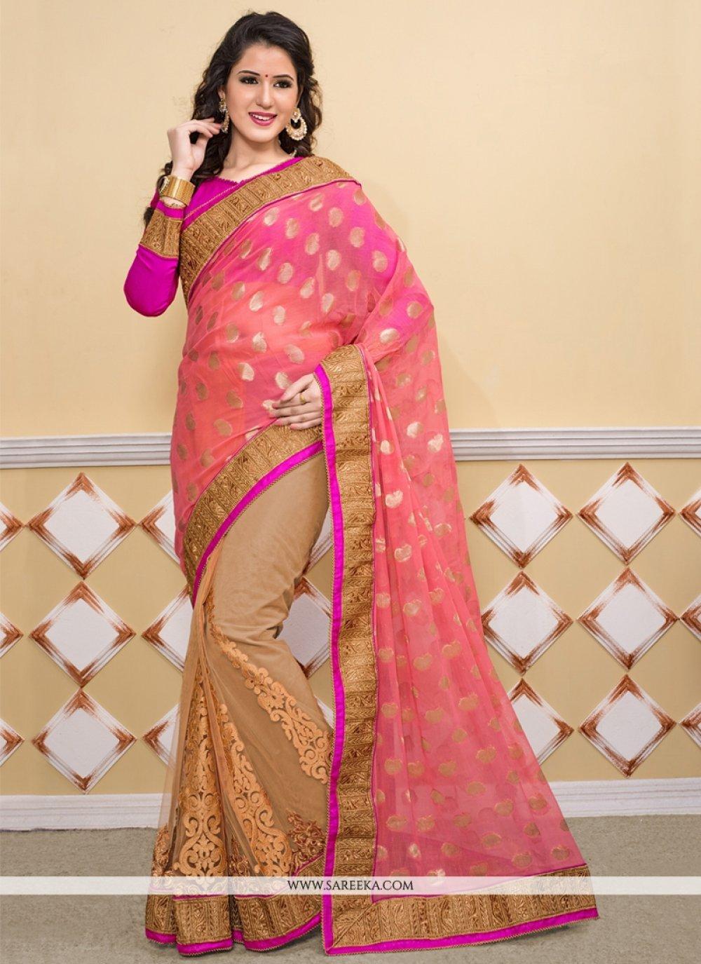 Beige And Pink Jacquard Viscose Designer Saree