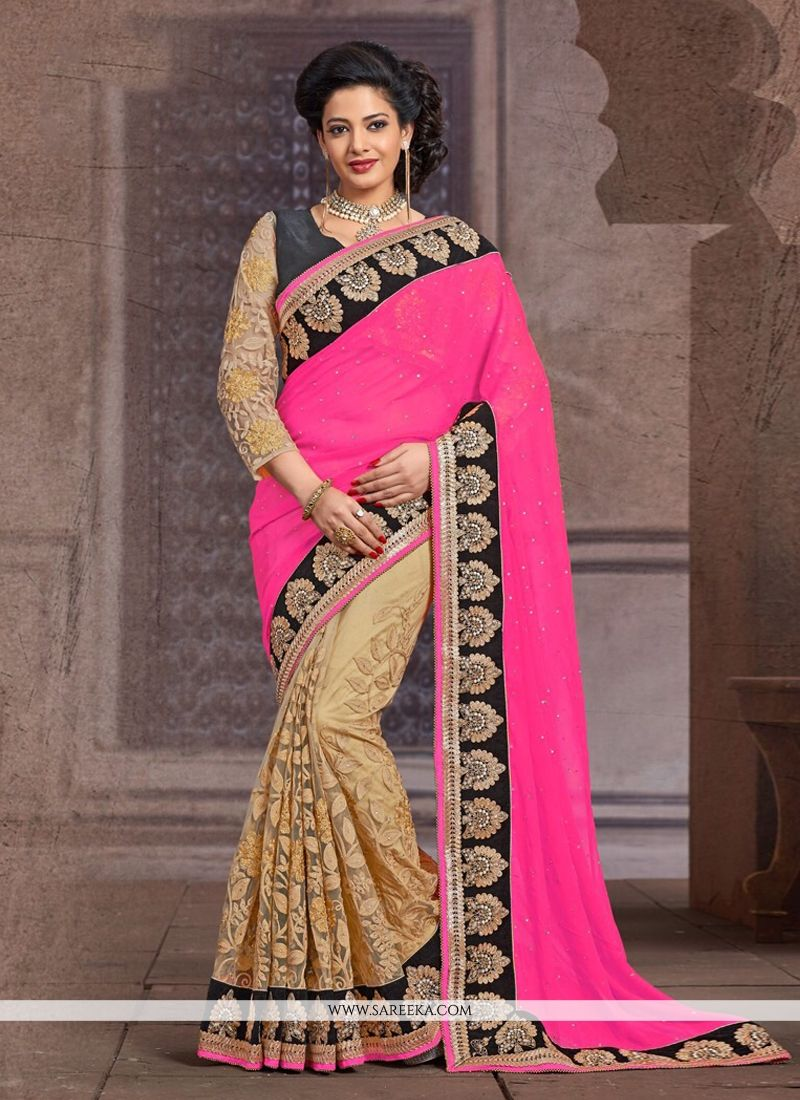 Beige And Pink Net And Bamber Half And Half Saree