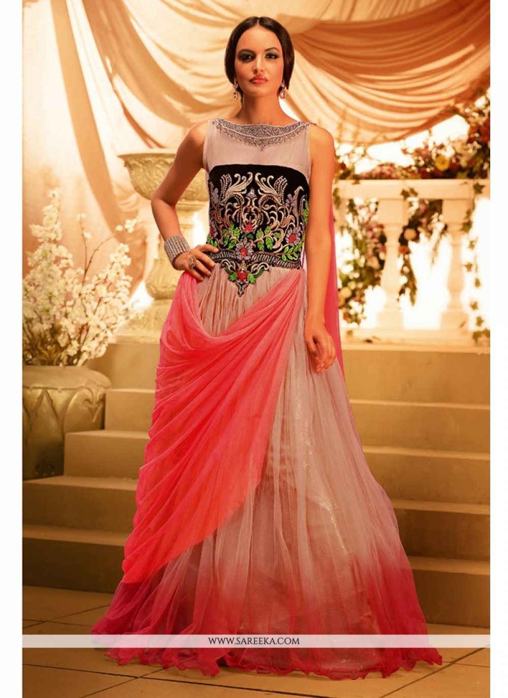 Beige And Pink Net Bollywood Gown