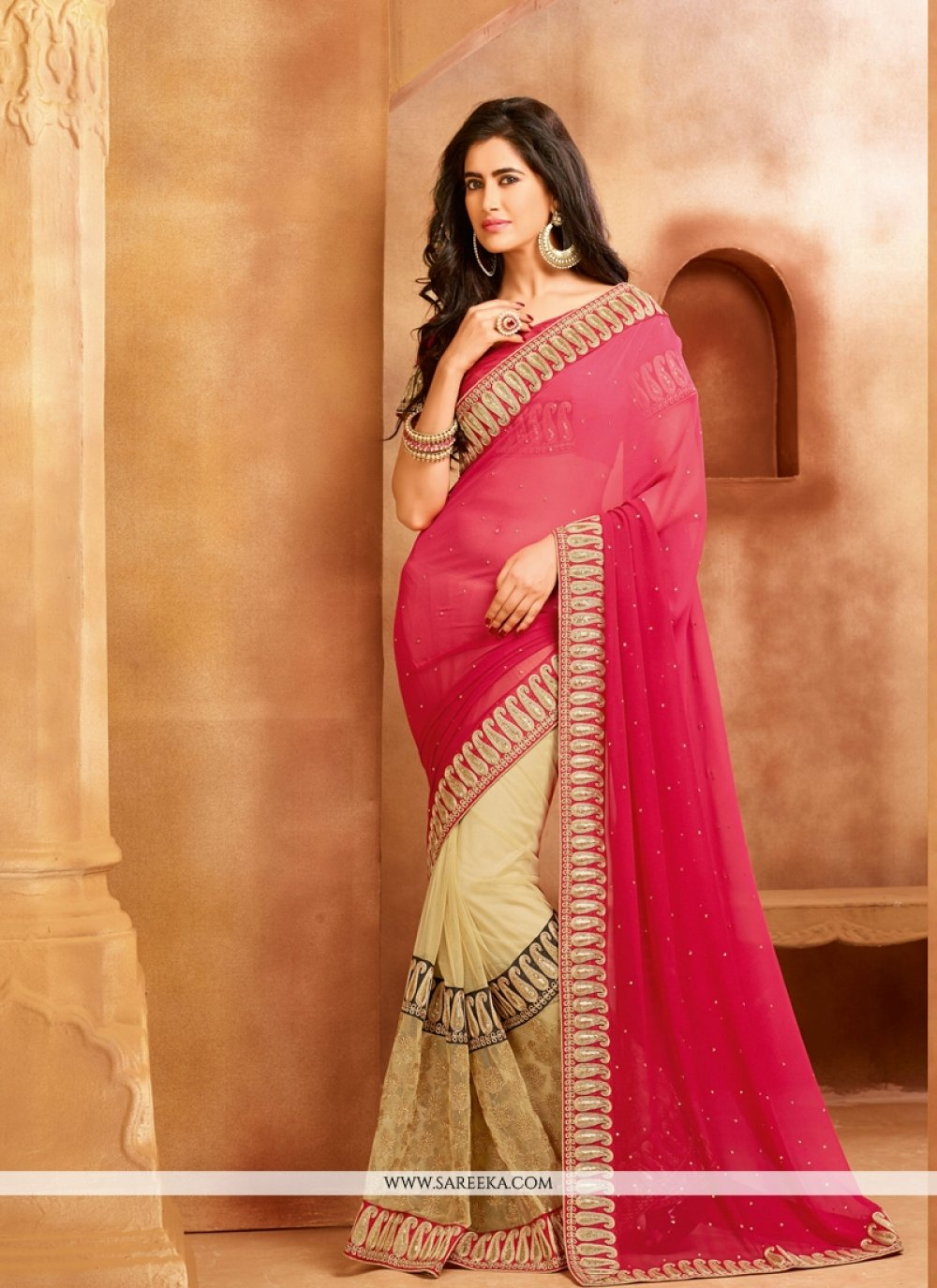 Beige and Pink Patch Border Work Net Designer Saree