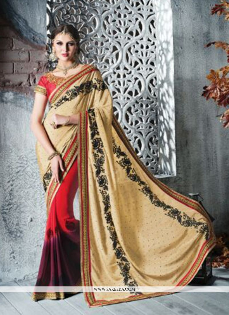 Beige And Red Chiffon Silk Designer Saree