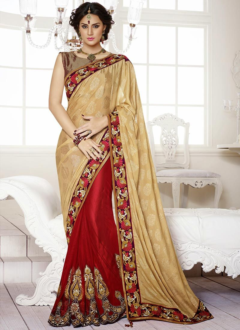 Beige And Red Crepe Half And Half Saree