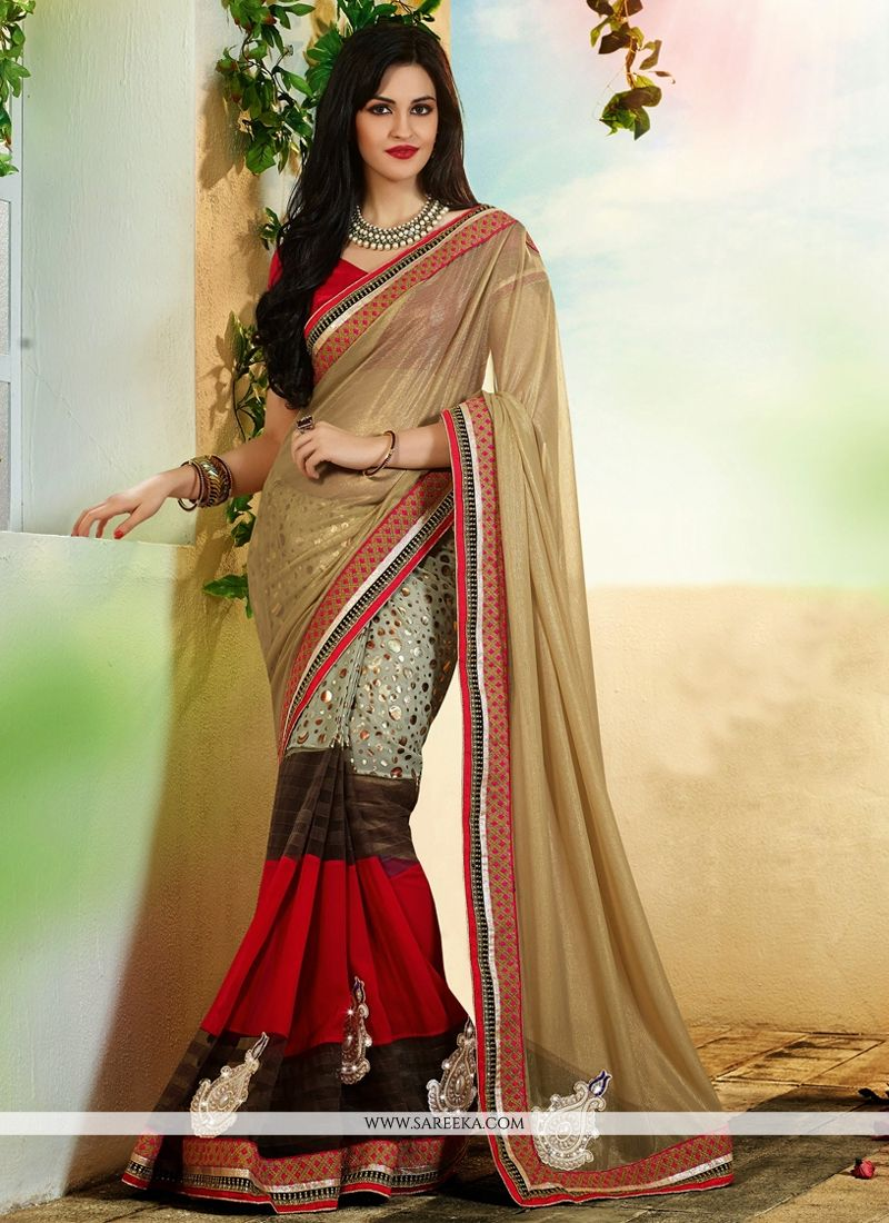 Beige And Red Georgette Designer Saree