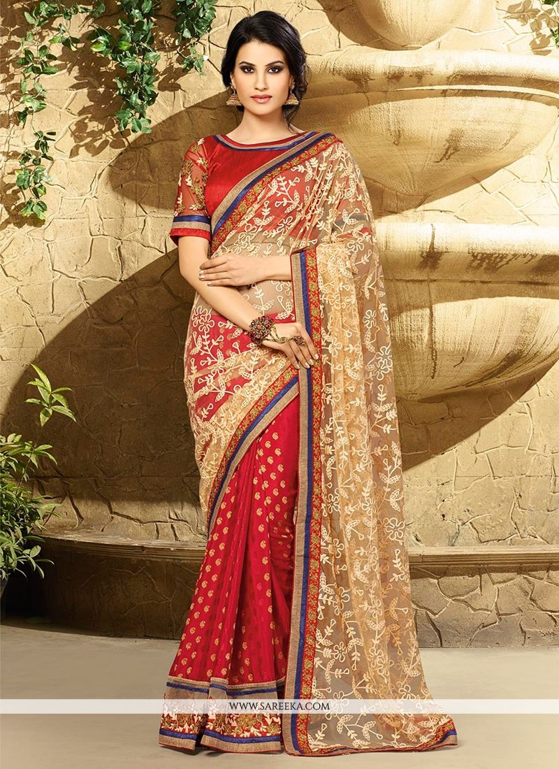 Beige And Red Georgette Jacquard Saree