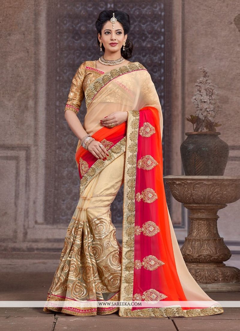 Beige And Red Net And Bember Half And Half Saree