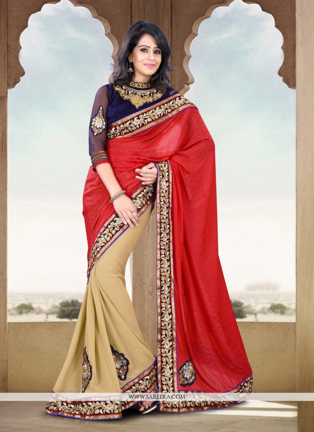 Beige And Red Silk Jacquard Half And Half Saree