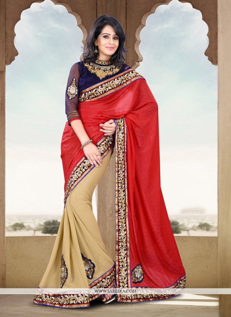 Beige And Red Silk Jacquard Half And Half Saree