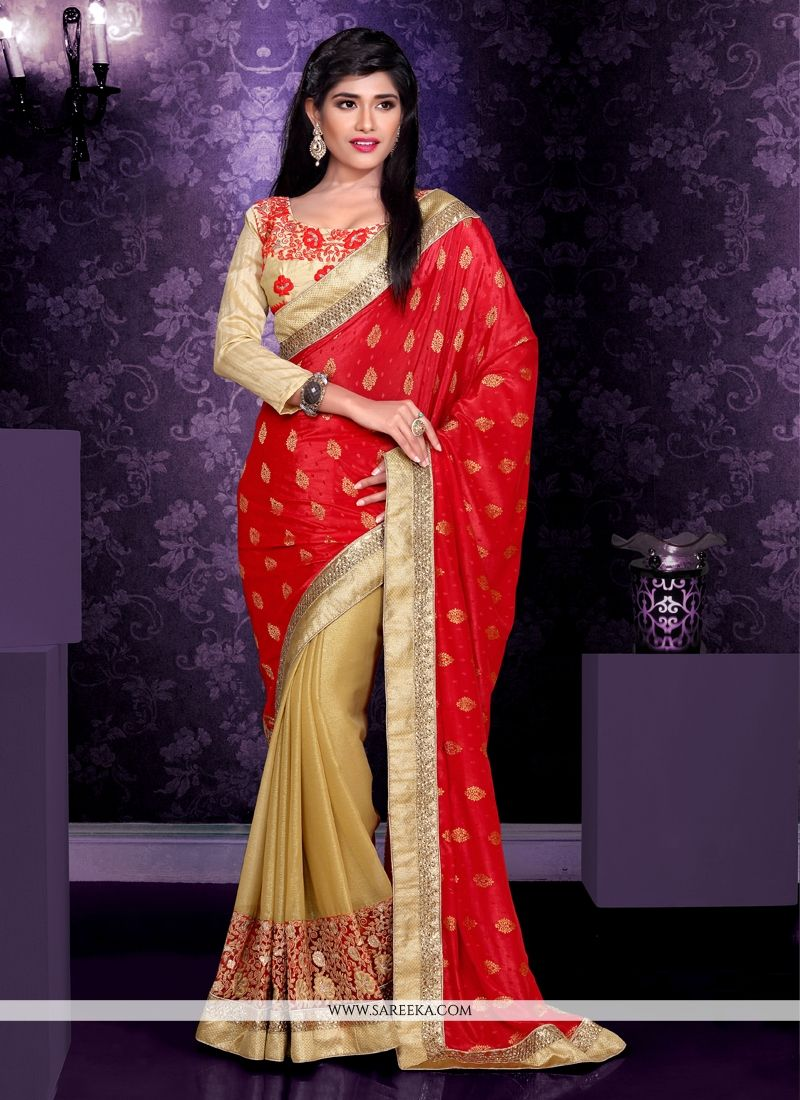 Beige And Red Viscose And Georgette Saree