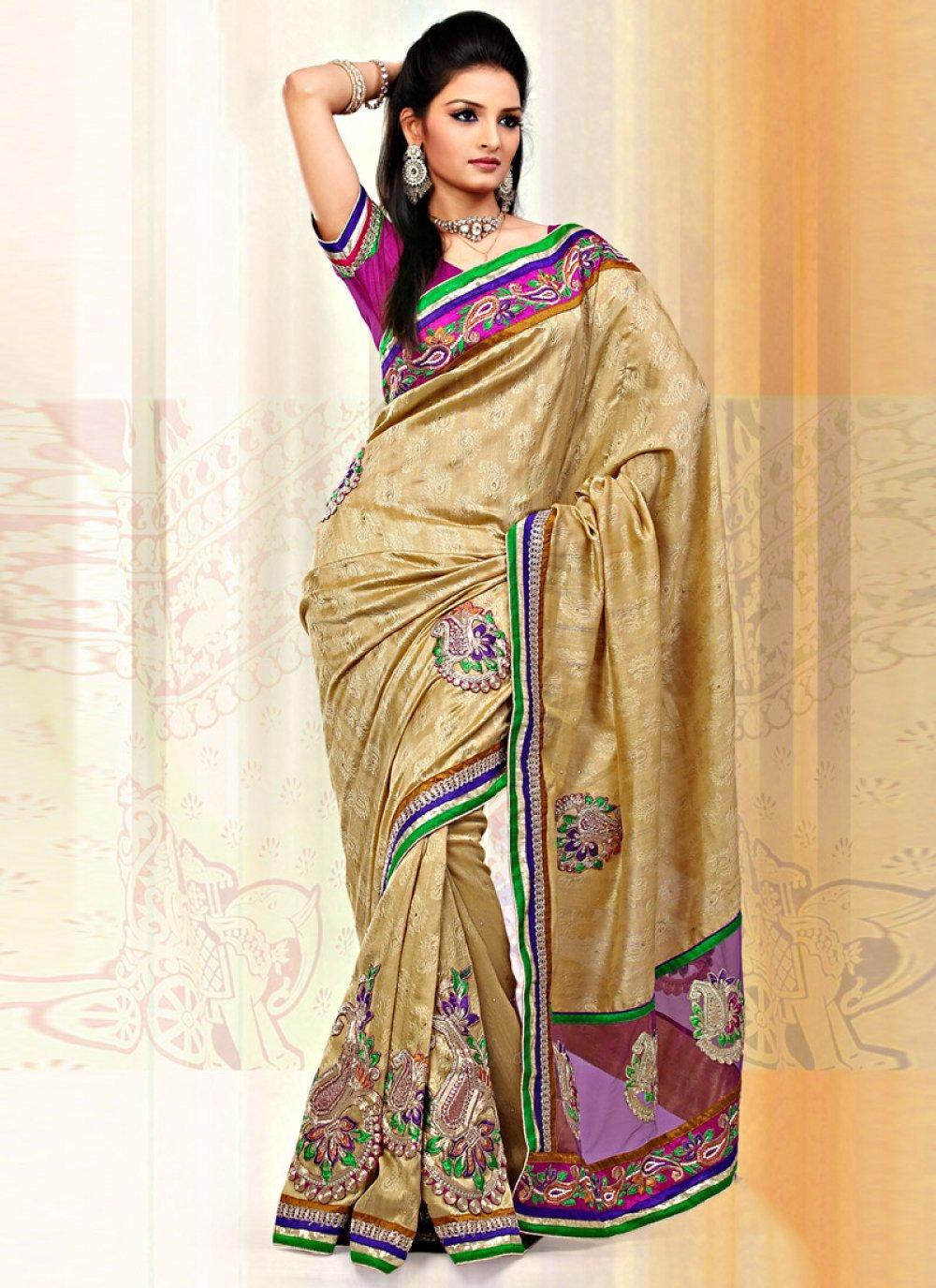 Beige Art Bhagalpuri Jacquard Silk Net Saree