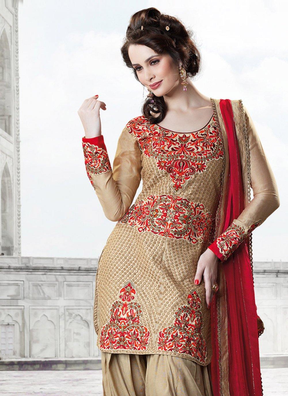Beige Art Silk Salwar Suit