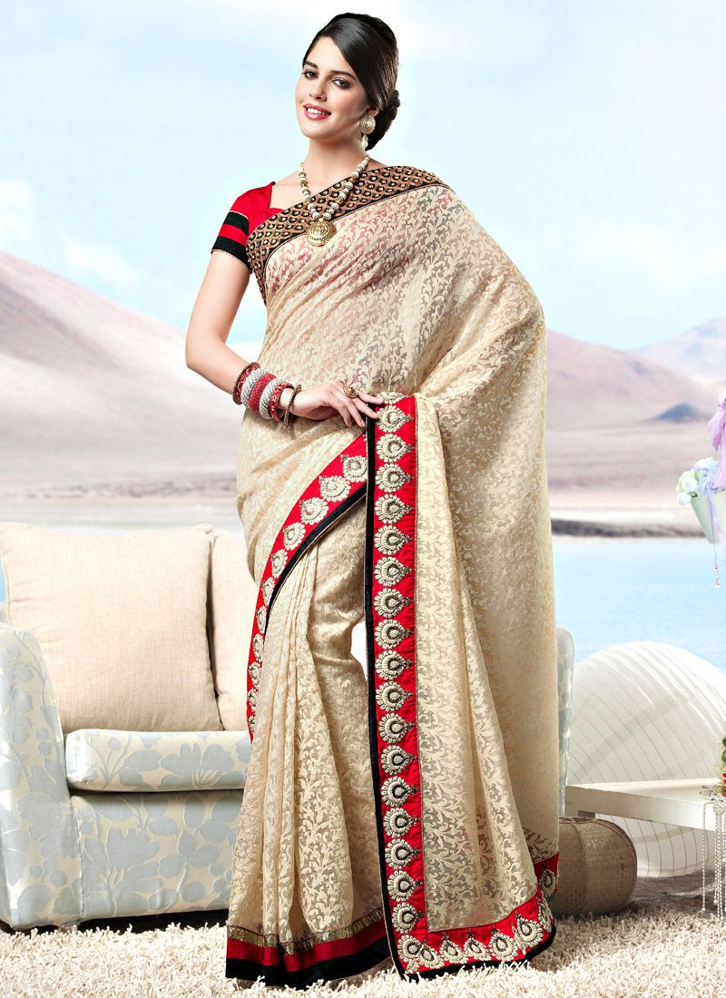 Beige Fancy Net Saree