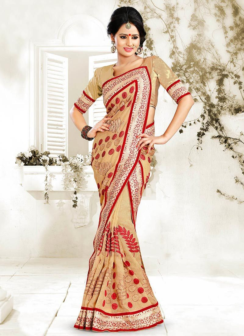 Beige Net Party Wear Saree