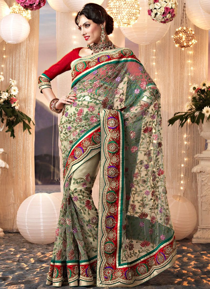 Beige Net Resham Embroidered Saree
