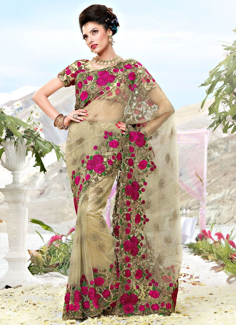 Beige Net Resham Work Saree