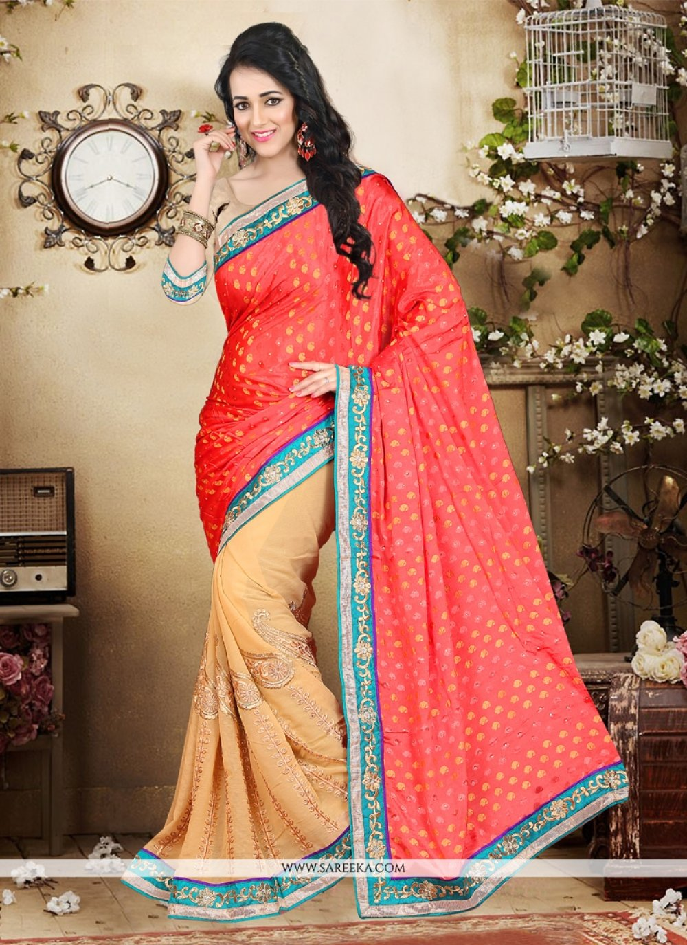 Beige Patch Border Work Chiffon Satin Designer Saree