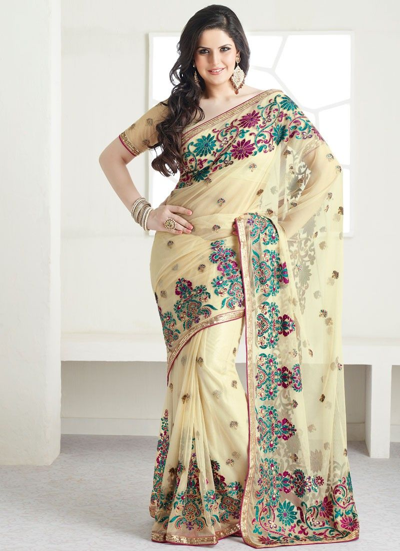 Beige Resham Embroidered Net Saree