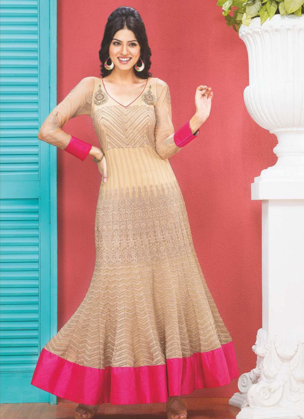 Beige Resham Work Anarkali Suit