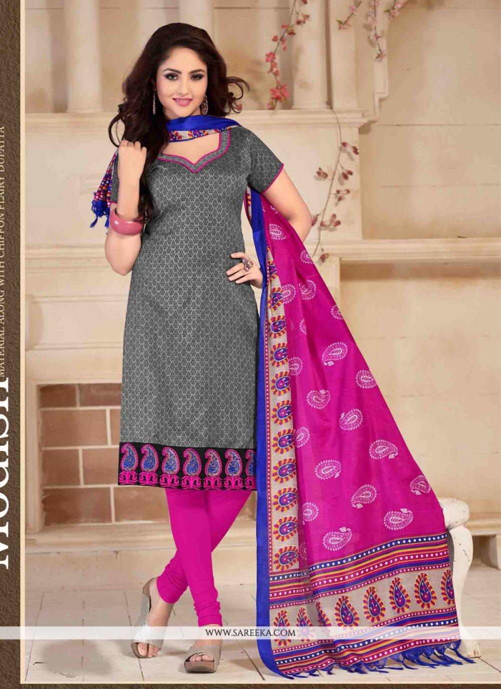 Banglori Silk Grey Print Work Churidar Salwar Suit