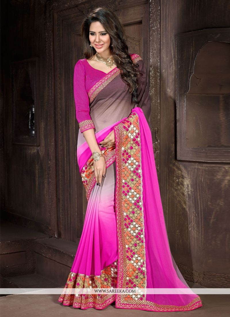 Hot Pink Designer Saree