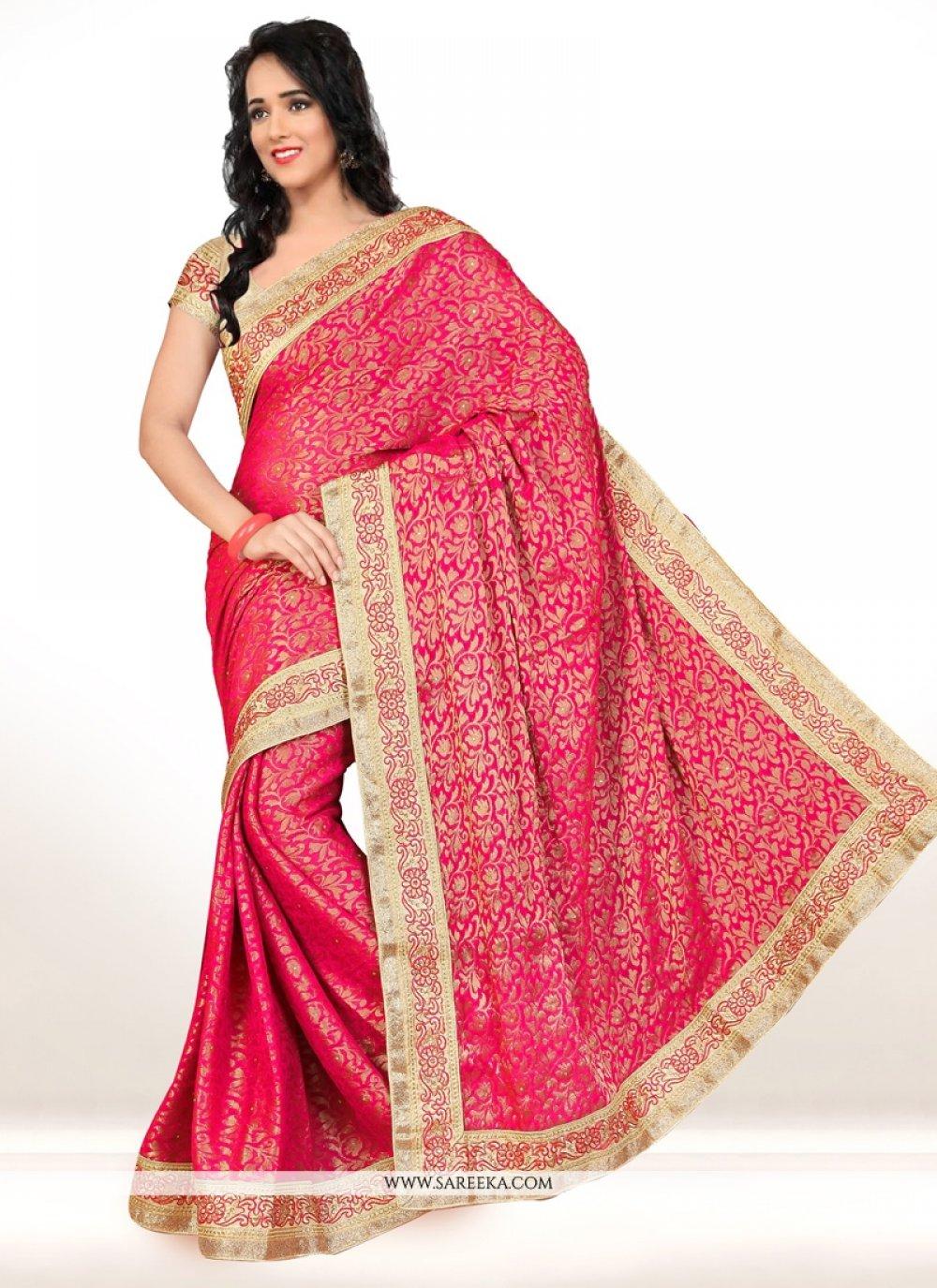 Hot Pink Embroidered Work Viscose Designer Saree