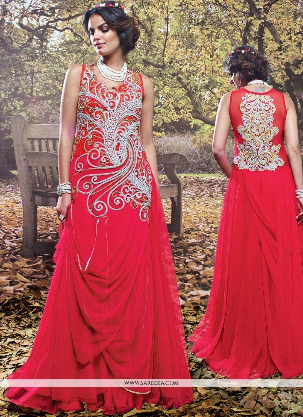 Hot Pink Net Designer Gown