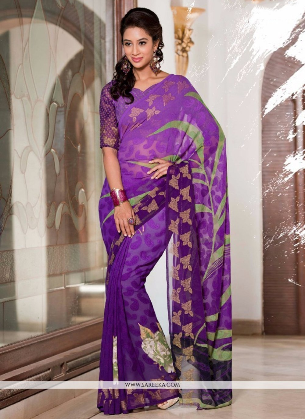 Bewildering Georgette Lace Work Casual Saree