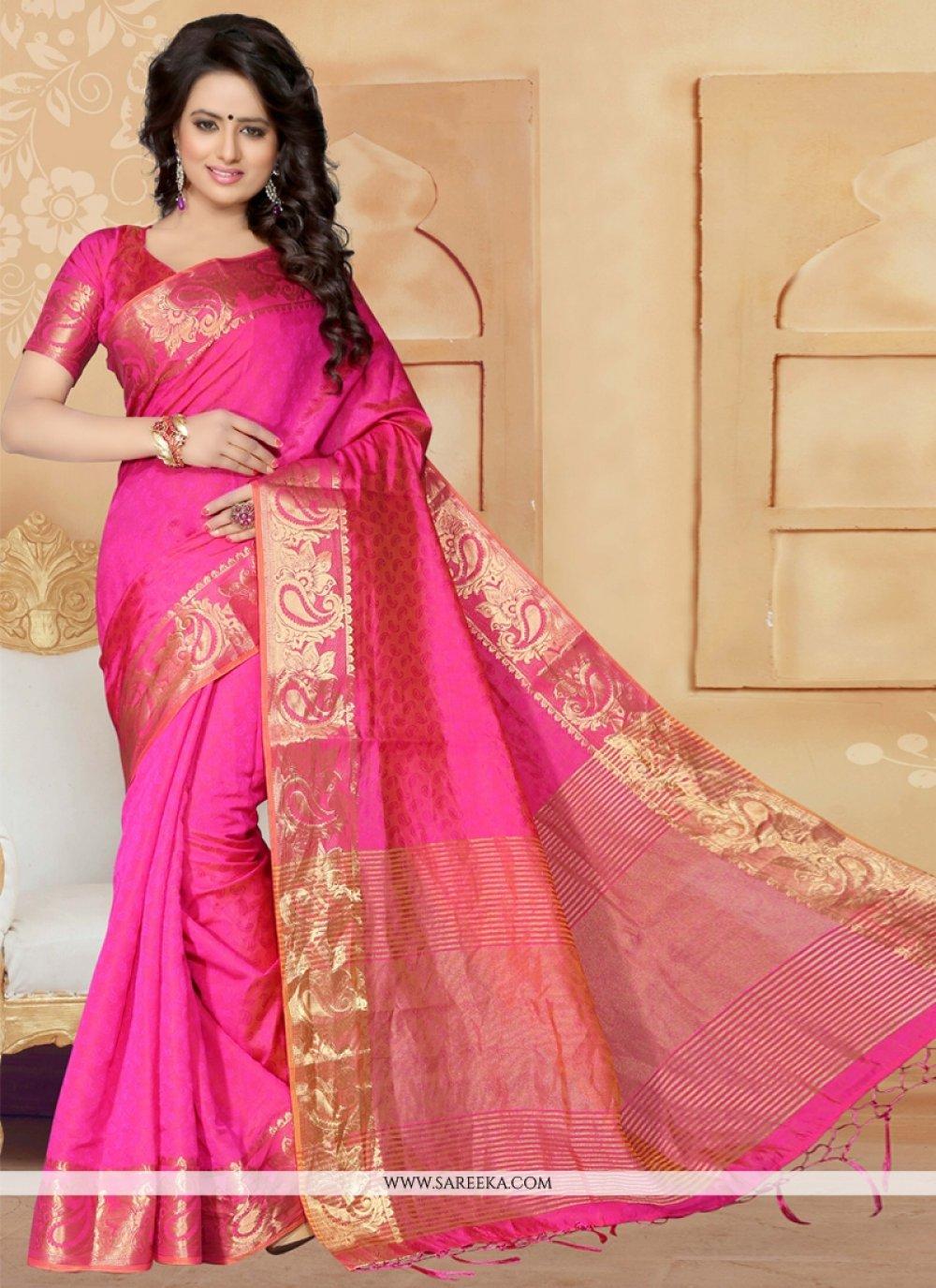 Bewitching Banarasi Silk Hot Pink Designer Saree