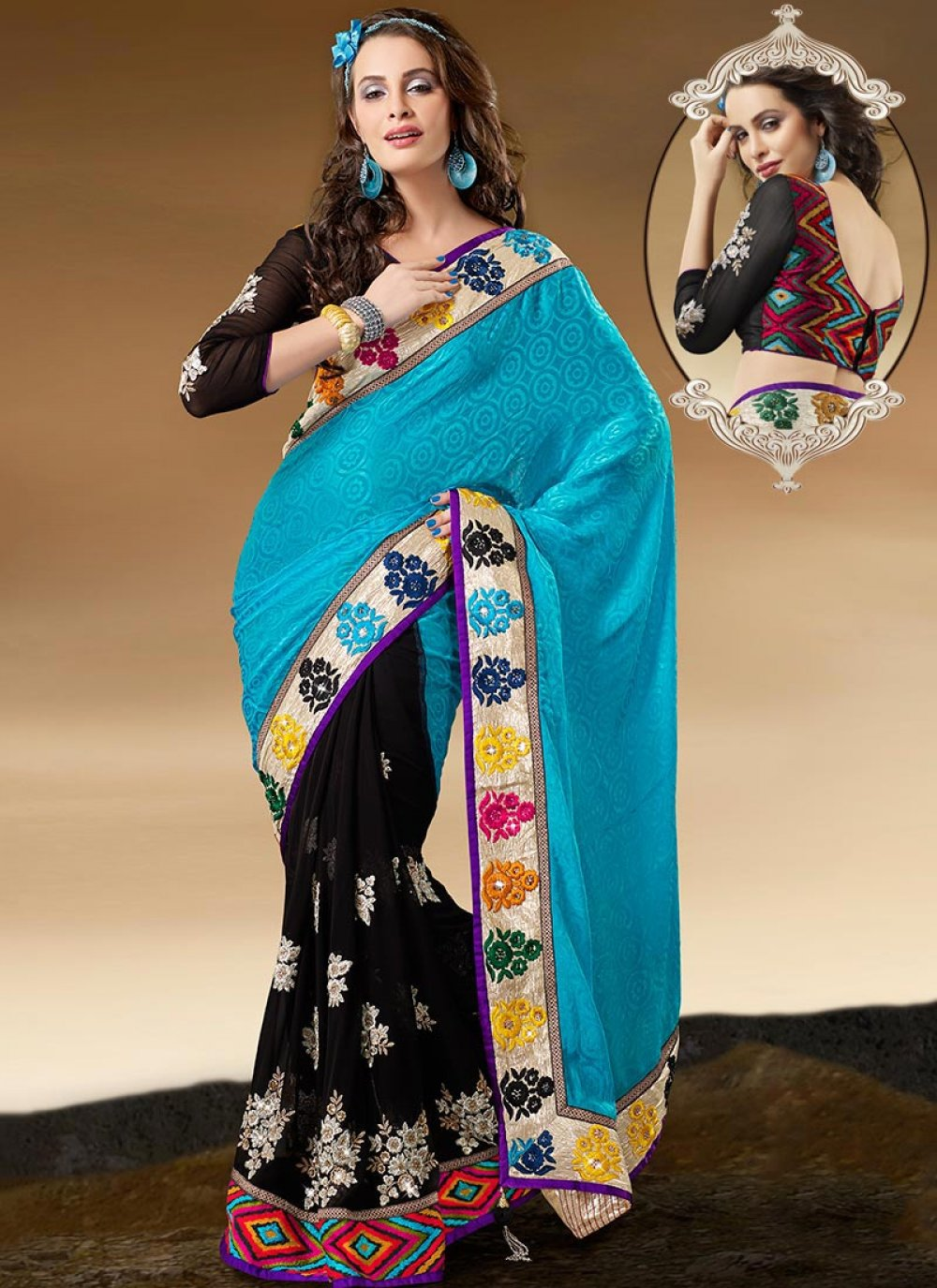 Bewitching Black and Turquoise Half N Half Saree