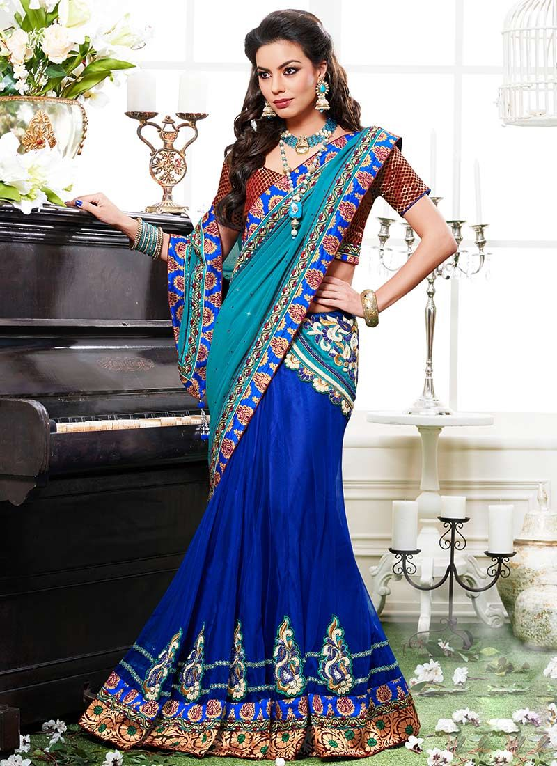 Bewitching Blue Georgette Net Lehenga Saree