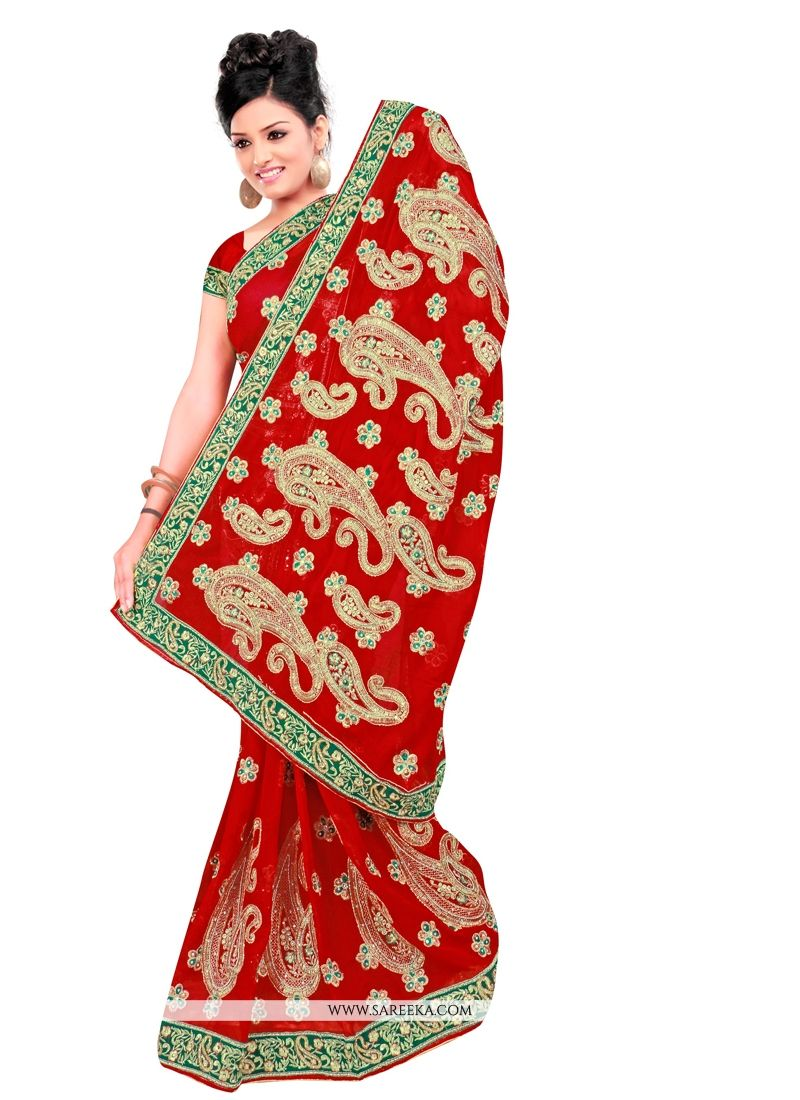 Bewitching Georgette Zari Work Contemporary Style Saree