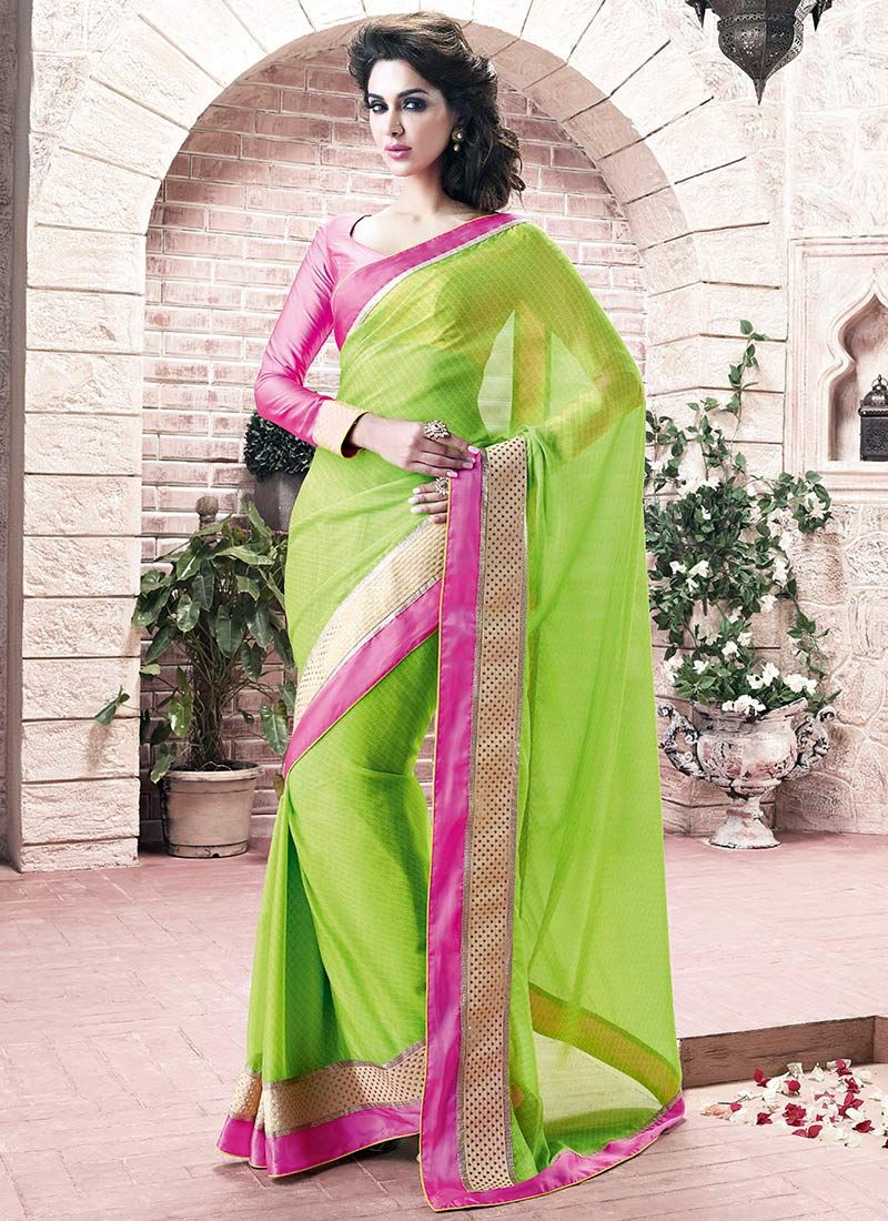 Bewitching Green Faux Georgette Saree