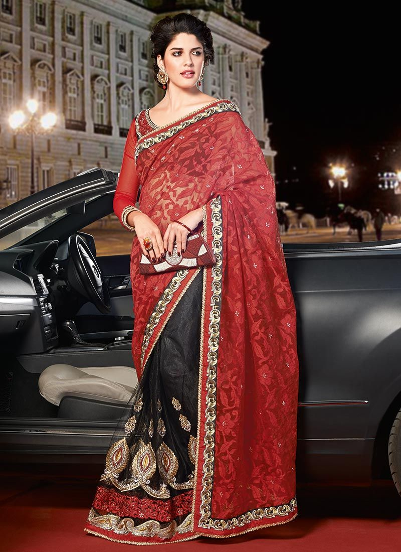 Bewitching Maroon And Black Half And Half Saree