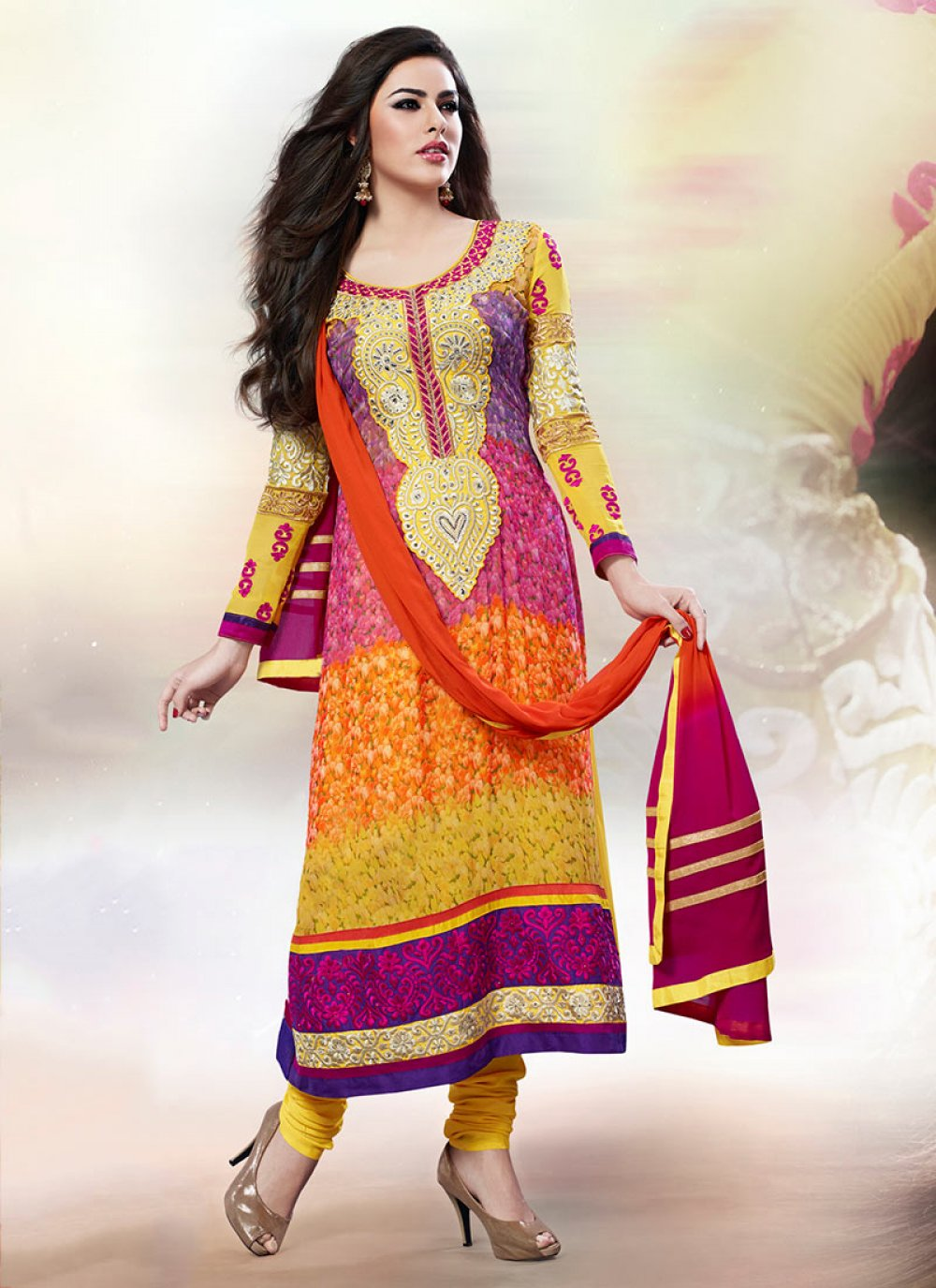 Bewitching Multicolored Georgette Churidar Suit
