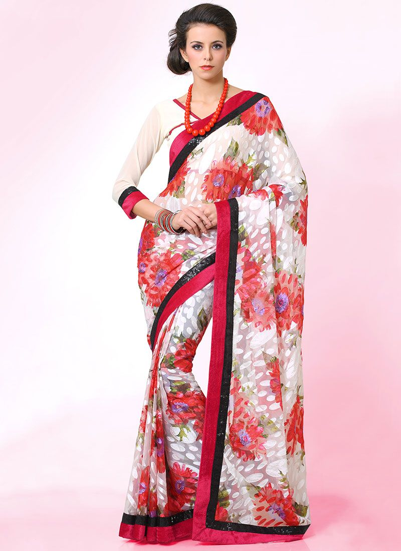Bewitching Off White Printed Brasso Saree