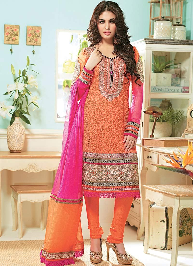 Bewitching Orange Embroidered Churidar Suit