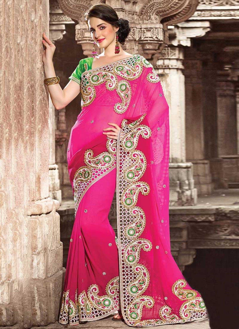 Bewitching Pink Art Silk Wedding Saree