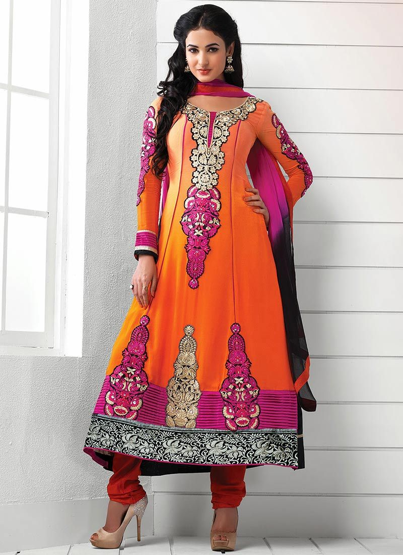 Bewitching  Resham Work Orange Designer Suit