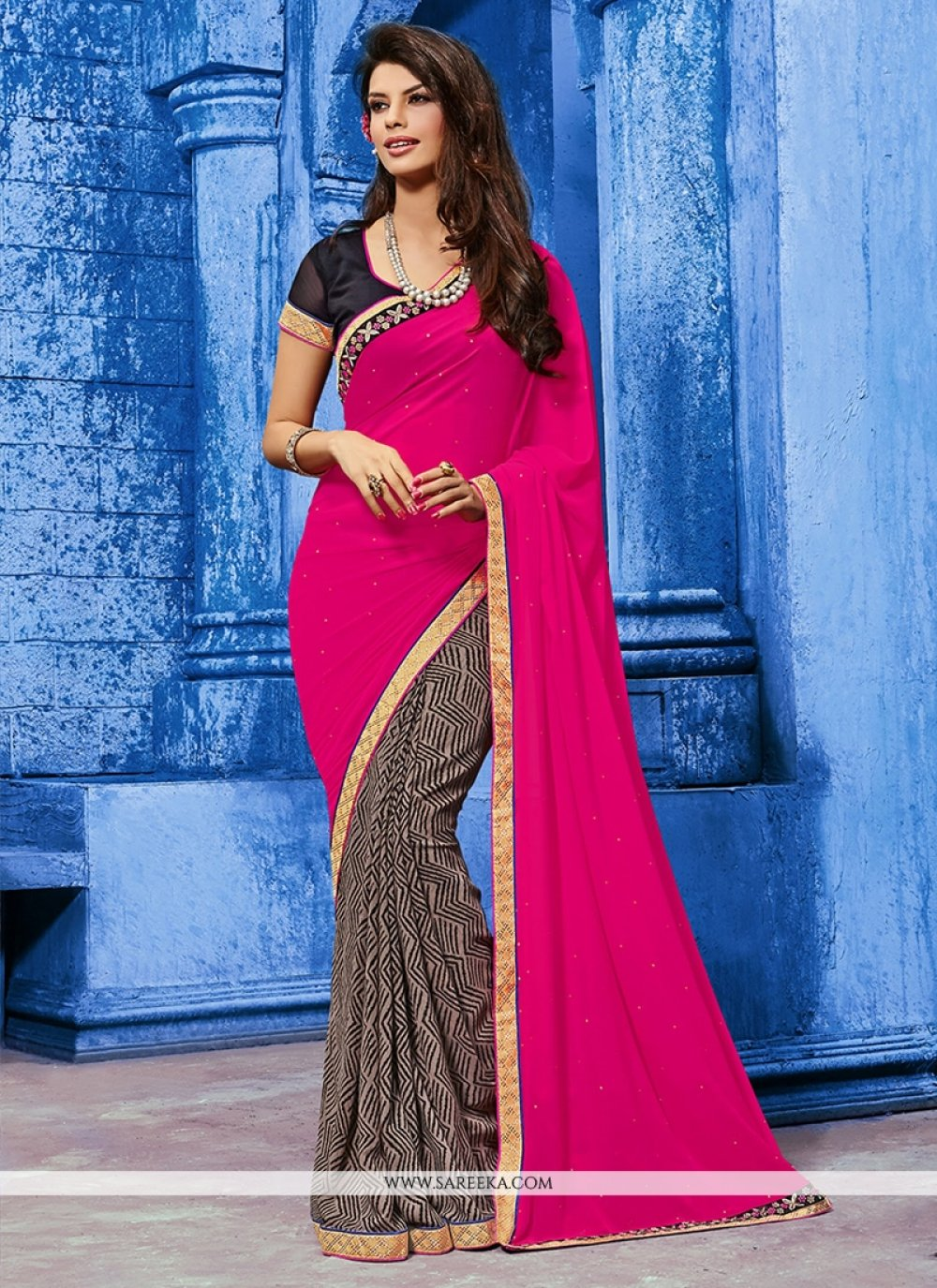 Bewitching Weight Less Hot Pink Designer Saree