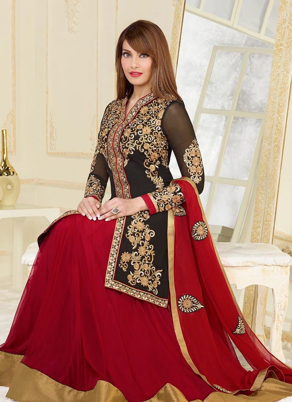 Bipasha Basu Black And Maroon Resham Work Length Anarkali Suit