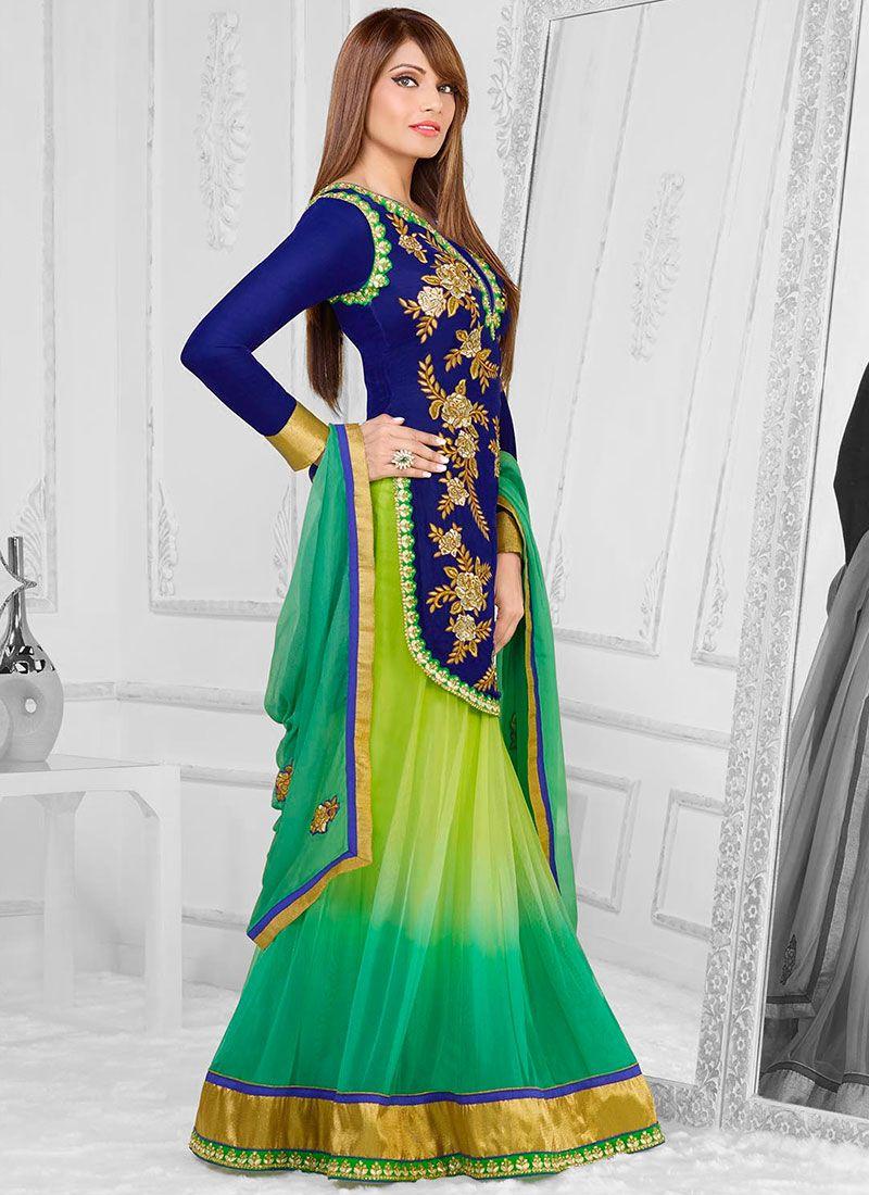 Bipasha Basu Blue And Green Embroidery Length Anarkali Suit