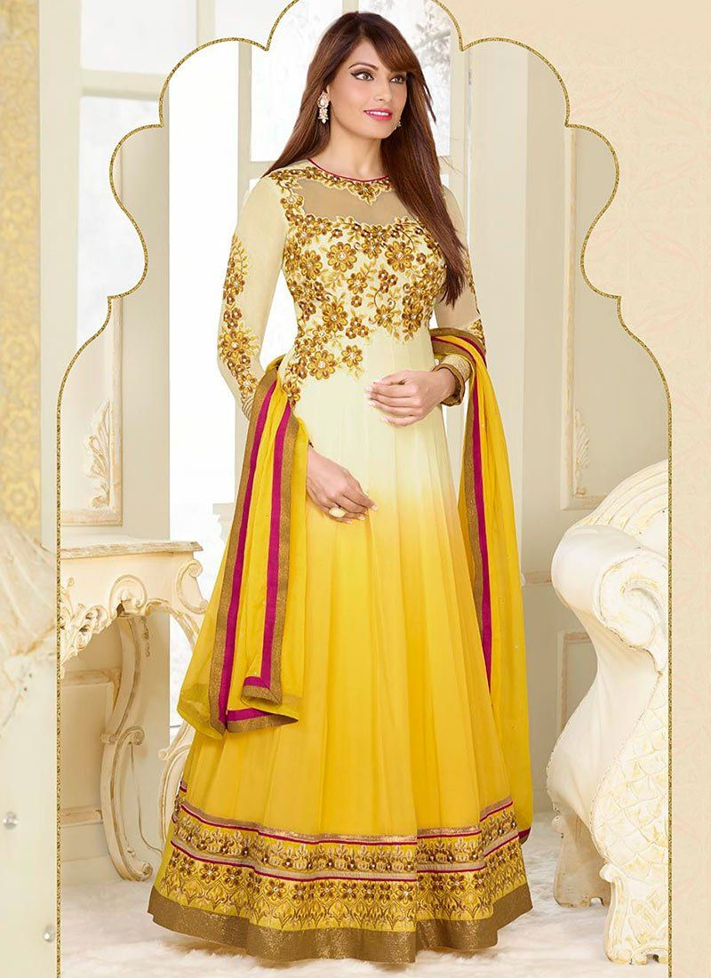 Bipasha Basu Cream And Yellow Zari Length Anarkali Suit