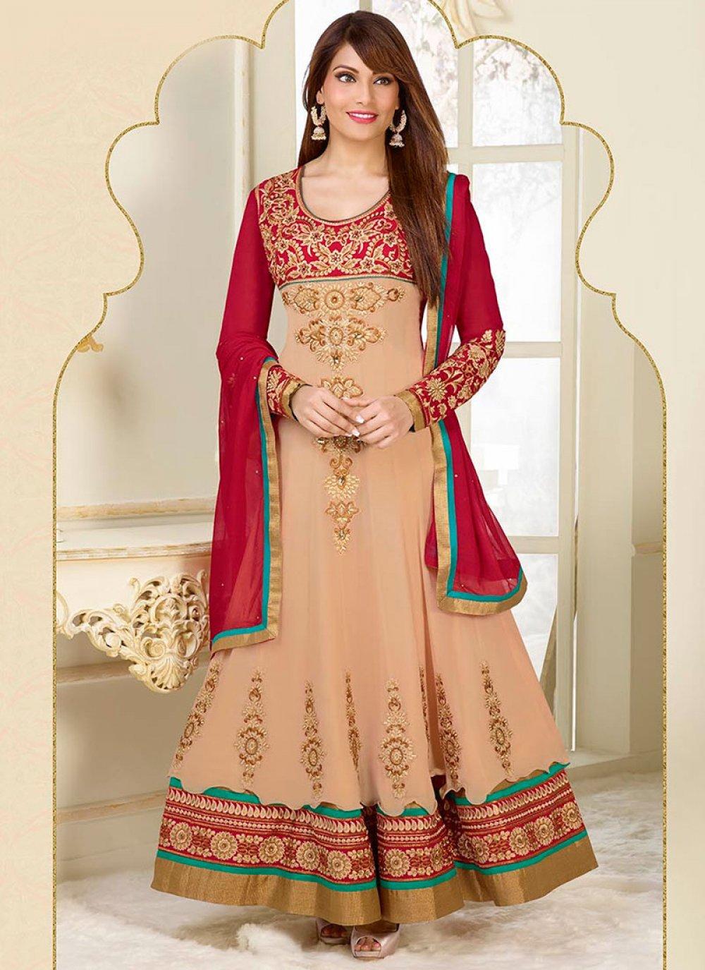 Bipasha Basu Cream Embroidery Work Length Anarkali Suit