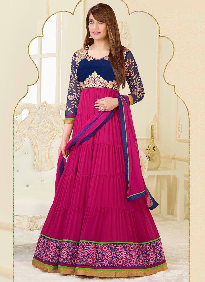 Bipasha Basu Magenta Resham Work Length Anarkali Suit